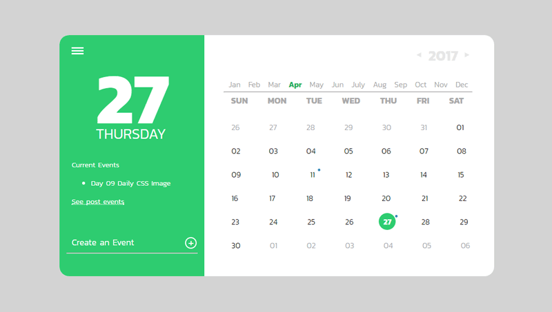 Calendar Layout Css : Css calendars