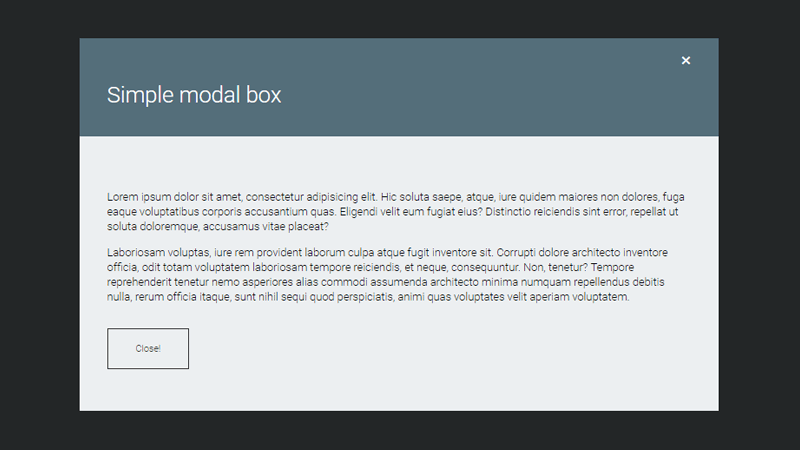 Demo Image: JS Simple Modal Box Snippet
