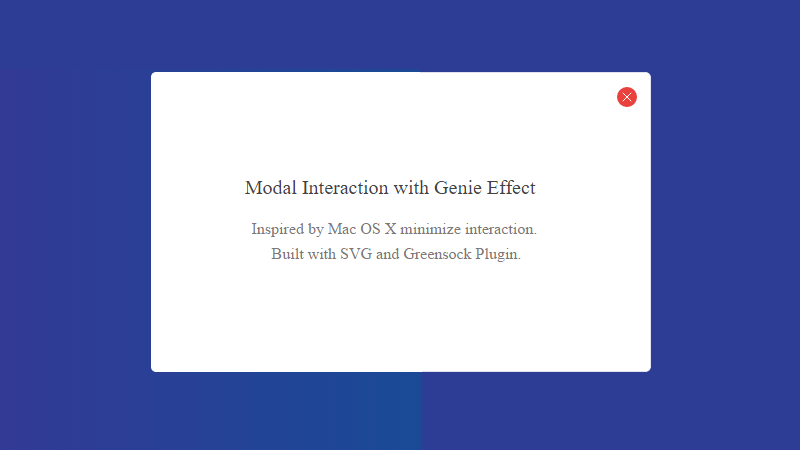 Demo Image: Modal Interaction With Genie Effect