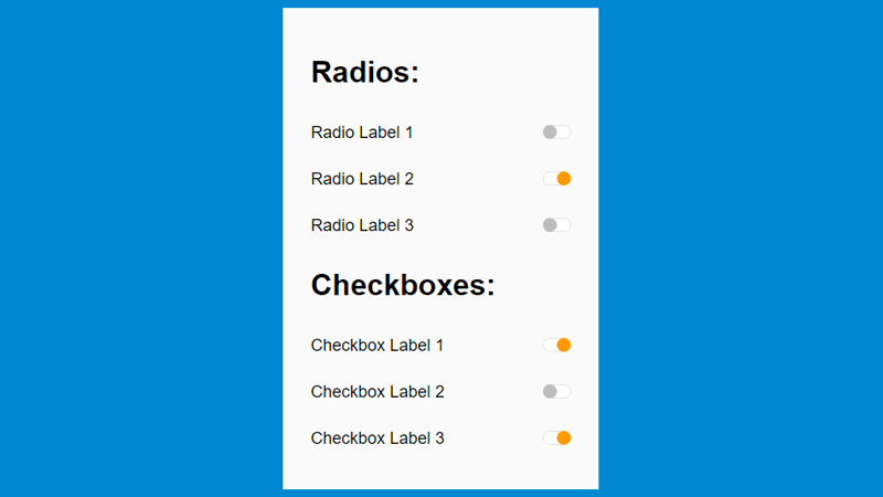 Demo Image: Animated Checkbox And Radio Buttons