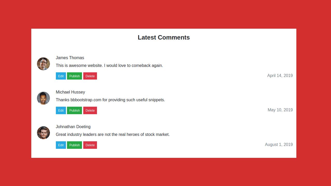 Demo image: Bootstrap 4 Latest Comments List Section