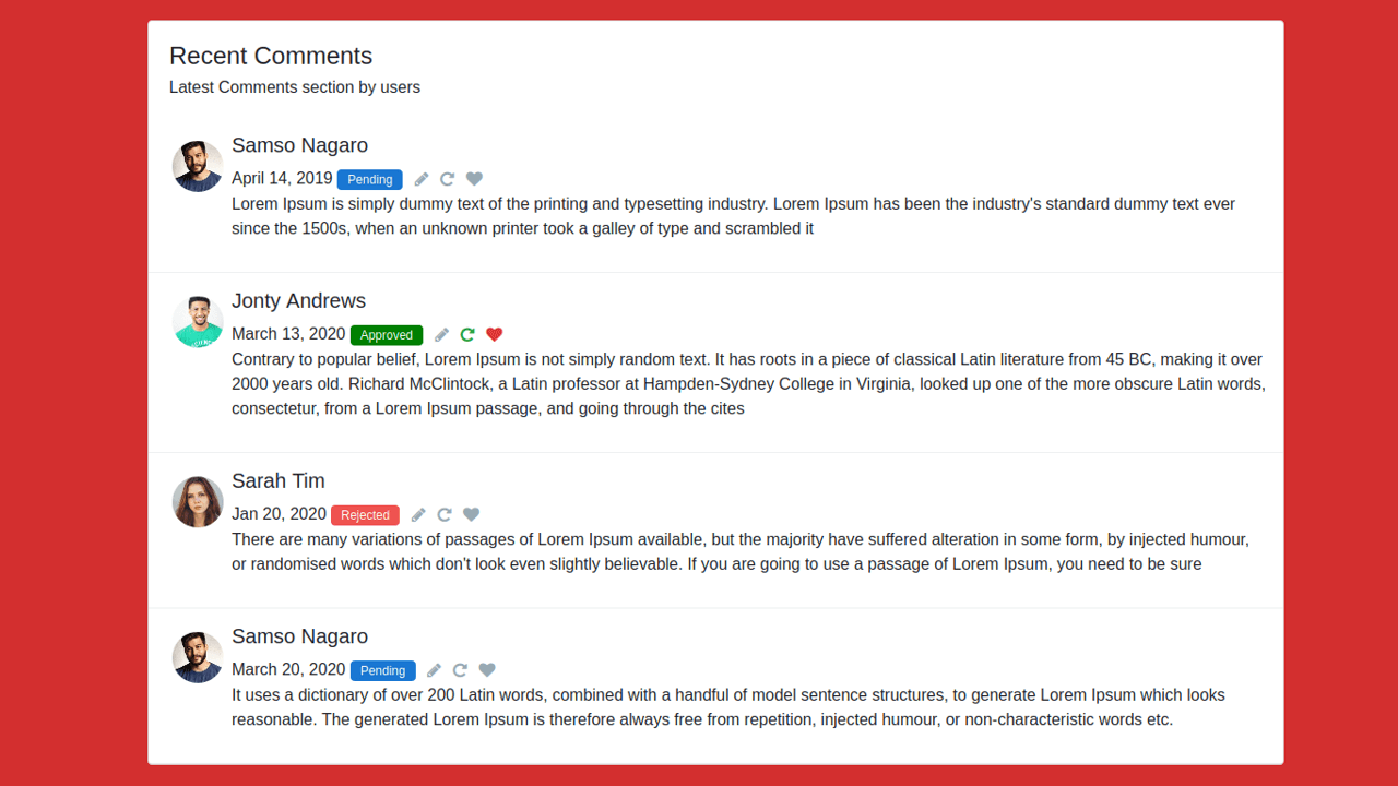 Demo image: Bootstrap 4 Recent Comment Section From Users