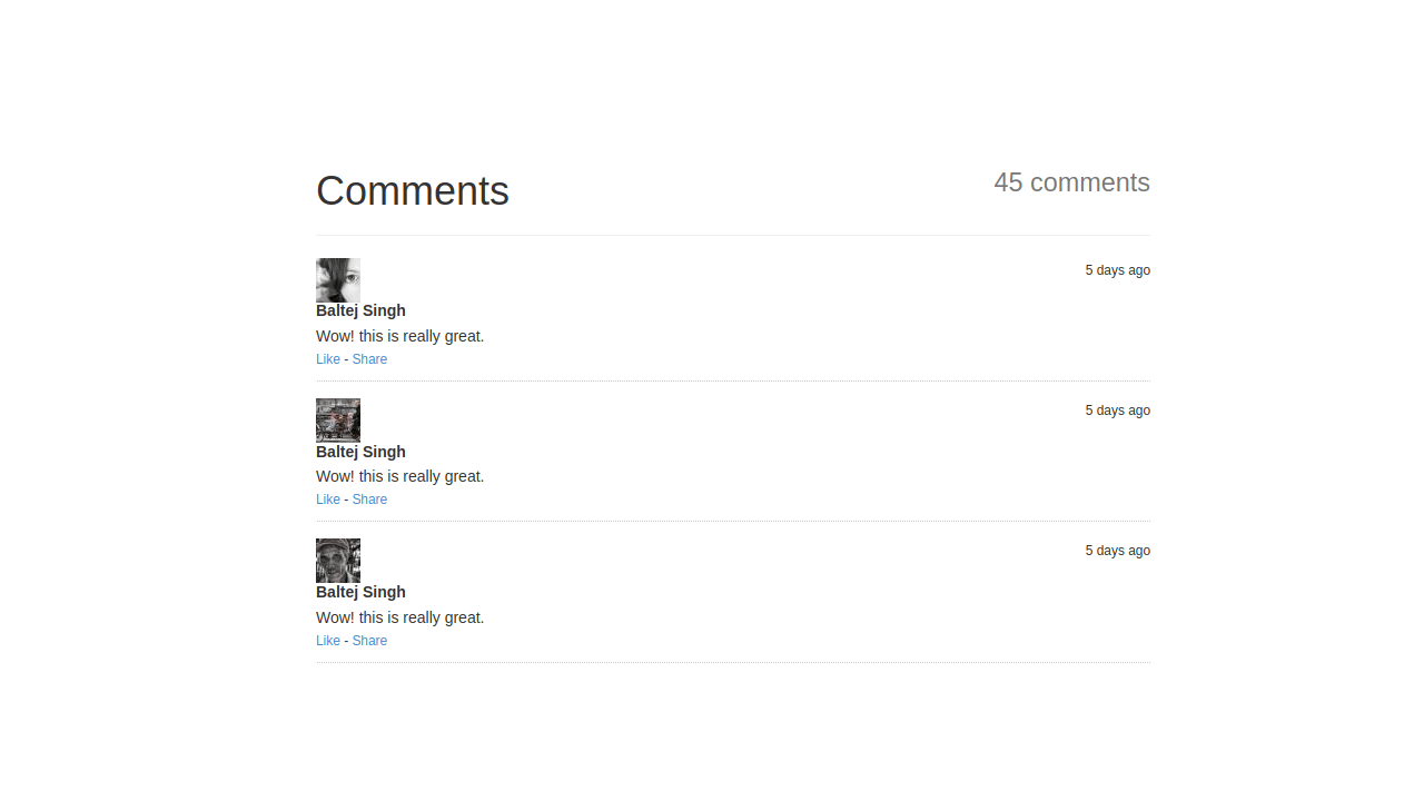 Demo image: Bootstrap Comments List