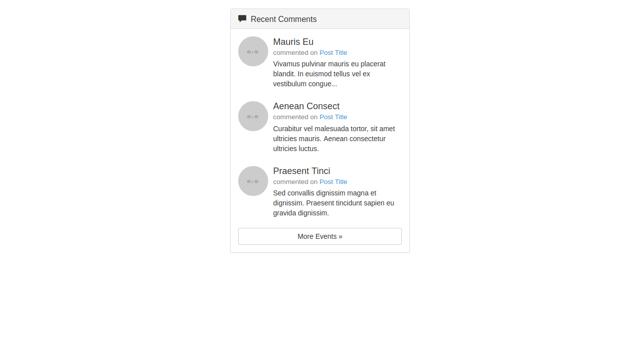 Demo image: Bootstrap Recent Comments Widget