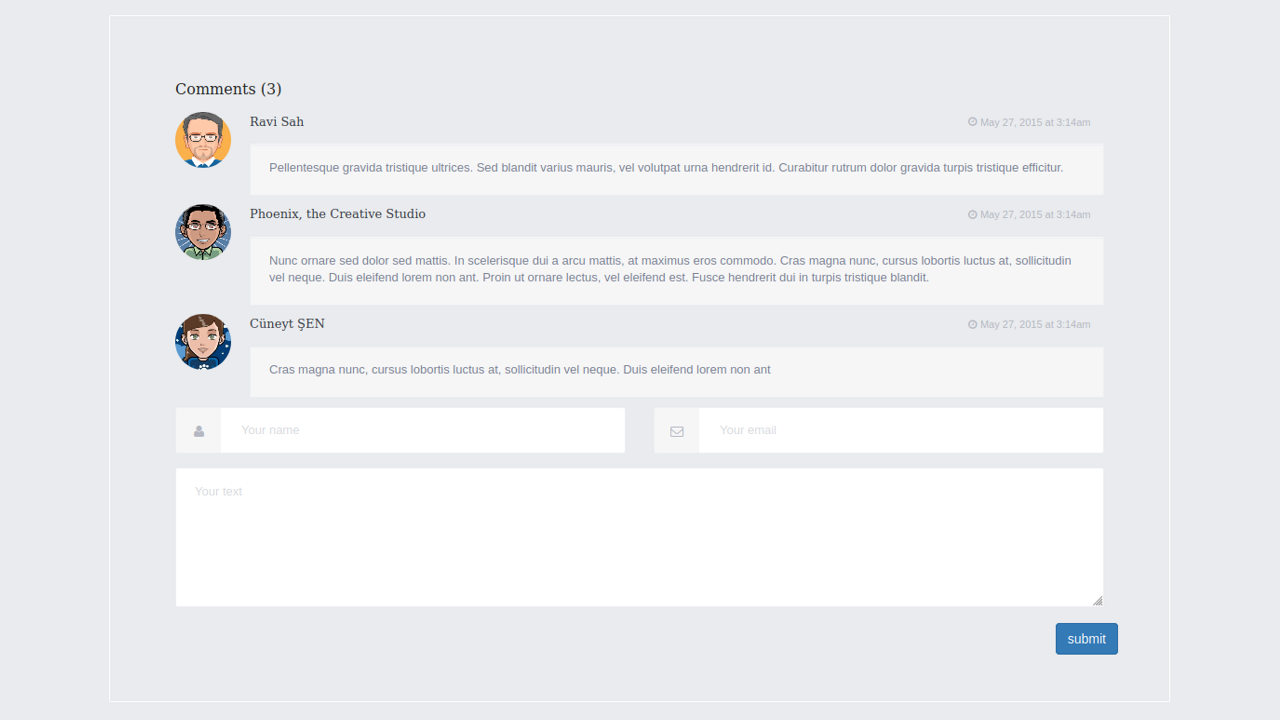 Demo image: Bootstrap Blog Comments With Form