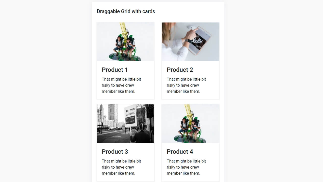 Demo image: Bootstrap 4 Draggable Grid with Cards