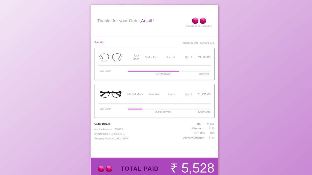 Demo image: Bootstrap 4 Ecommerce Product Order Details with Tracking