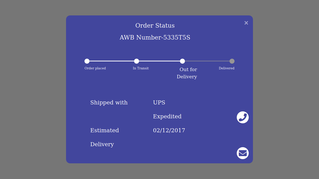 Demo image: Bootstrap 4 Track Your Order with Progress Bar Modal