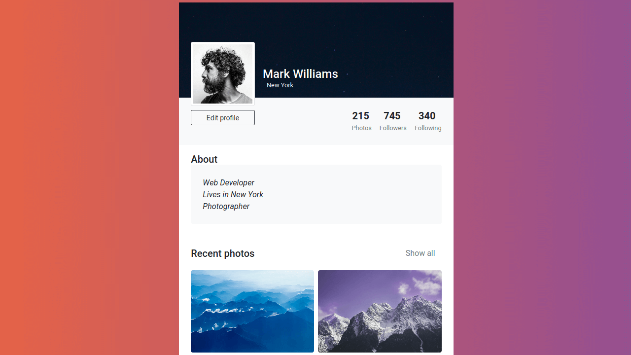 Demo image: Bootstrap 4 Individual User Profile