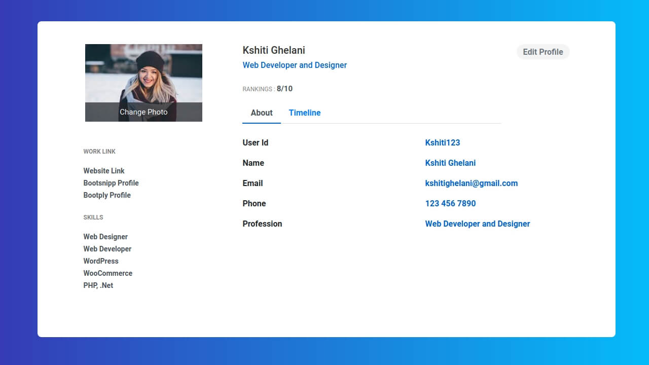 Demo image: Bootstrap Profile Page Design