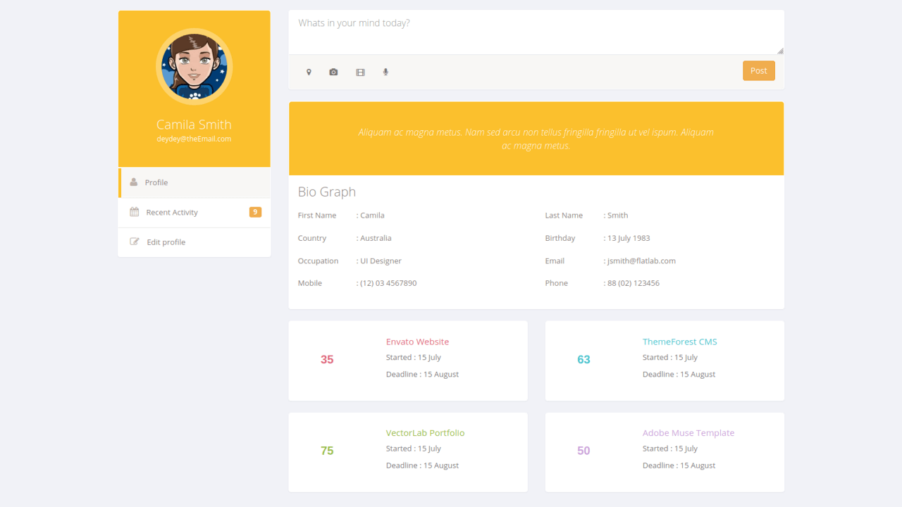 Demo image: User Profile Biograph
