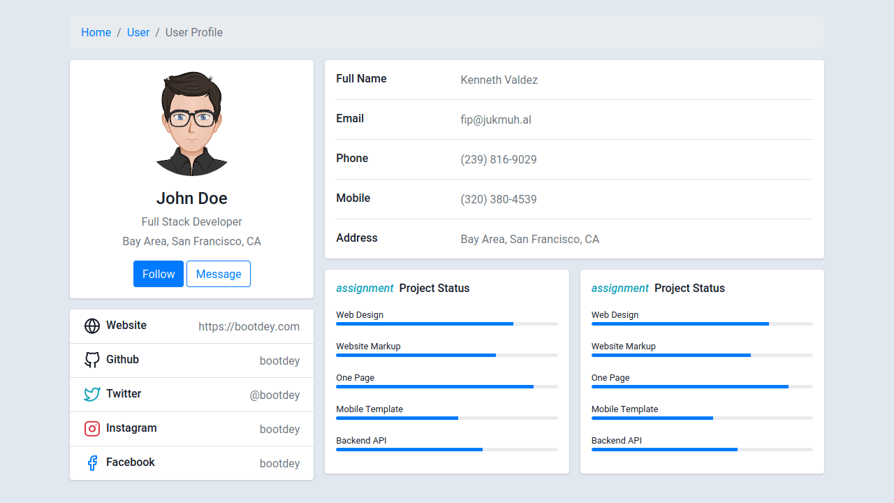 Demo image: Profile with Data and Skills