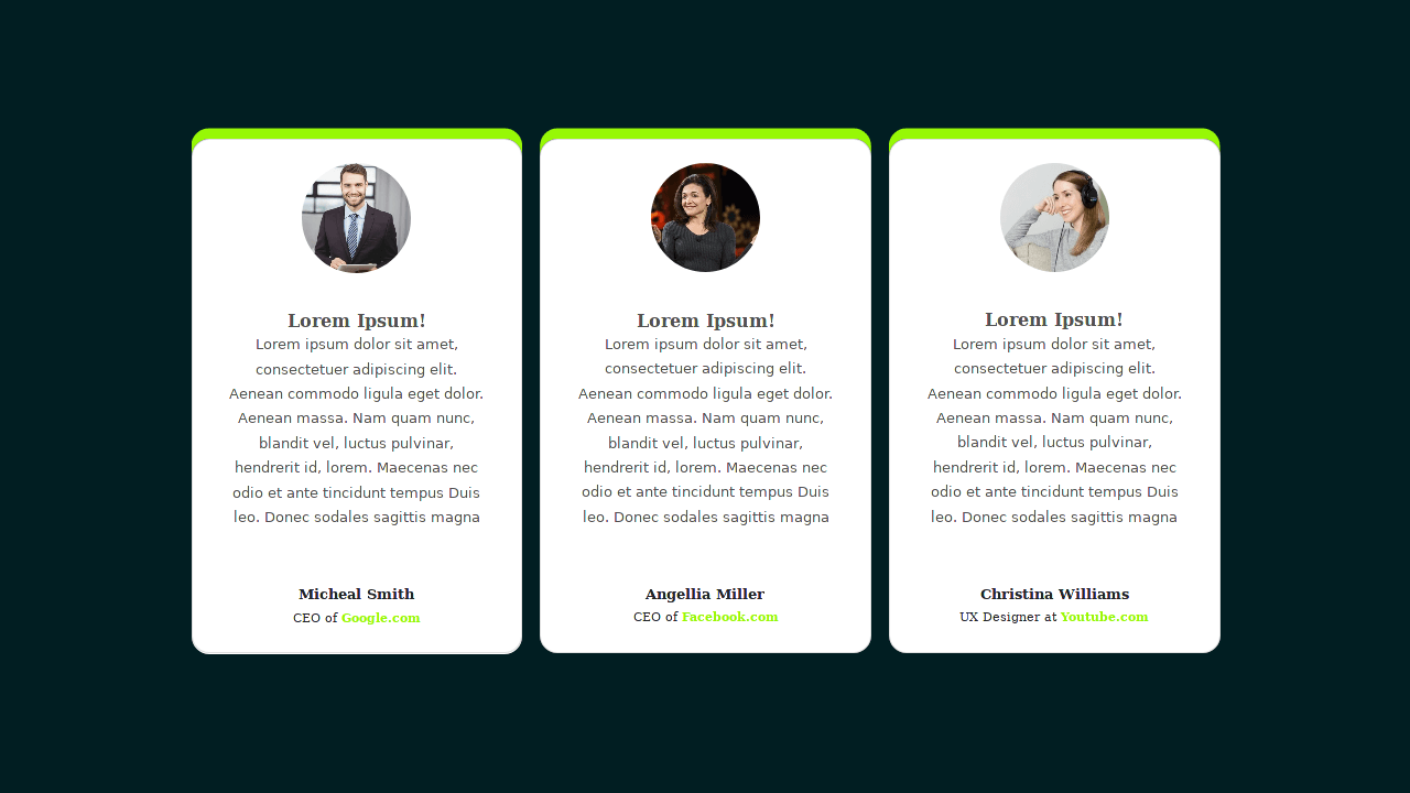Demo image: Bootstrap 4 Testimonial Card Section