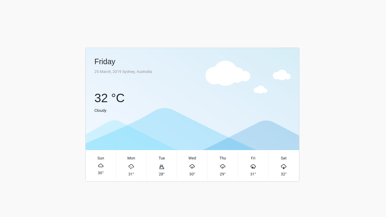 Demo image: Bootstrap 4 Weather Report Container with Card and Material Design Icons