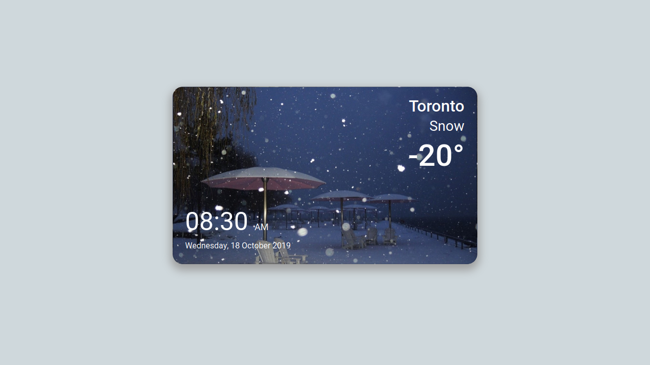 Demo image: Bootstrap 4 Weather Widget with Time and Date