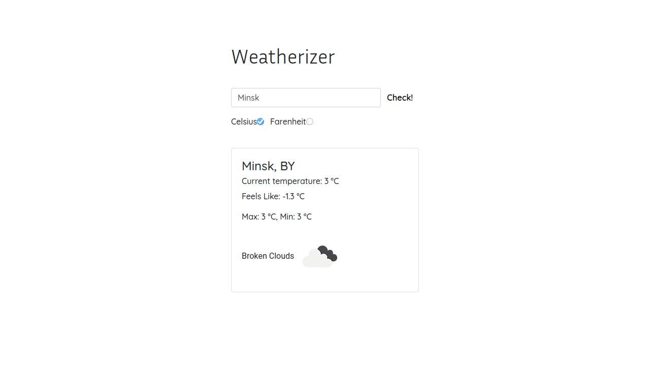 Demo image: Weather App