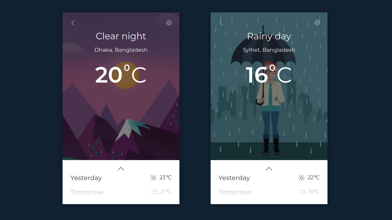 Demo image: Bootstrap Weather Card UI