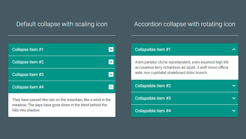 Demo image: Material Design Accordion - Bootstrap 3