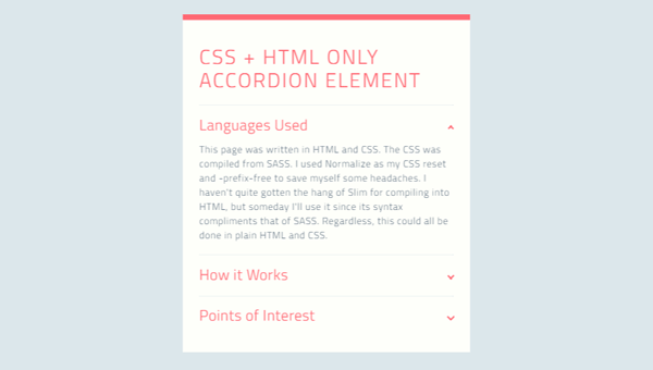 Demo Image: CSS + HTML Only Accordion Element