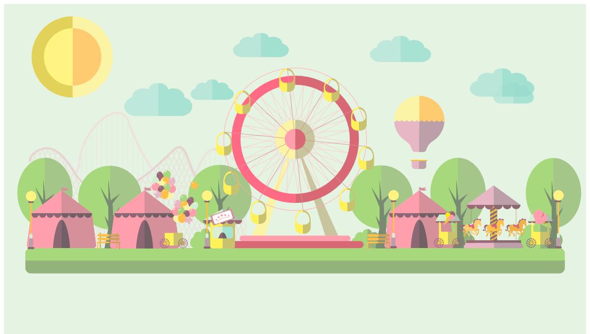 Efectos CSS3 avanzadas: Parque de atracciones Flat Design con animación CSS