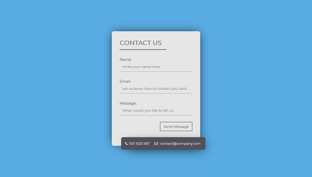 Demo image: Contact Form UI