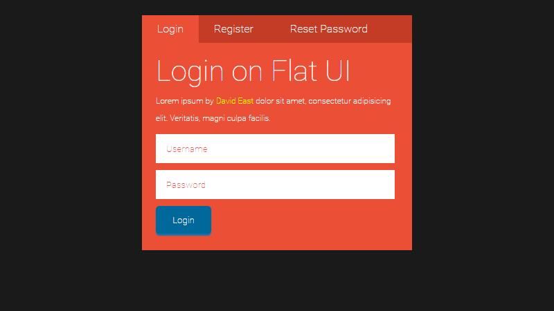 Demo Image: Flat UI Login Form