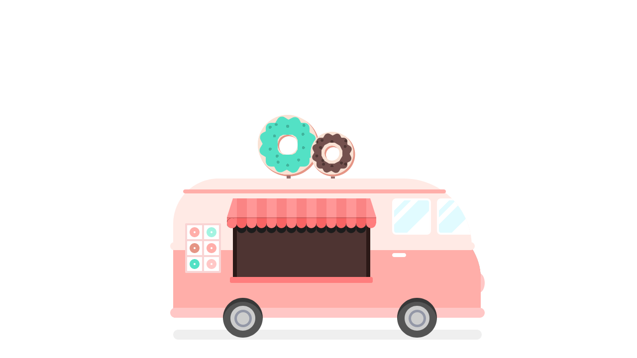 Demo image: CSS Donuts Truck Illustration