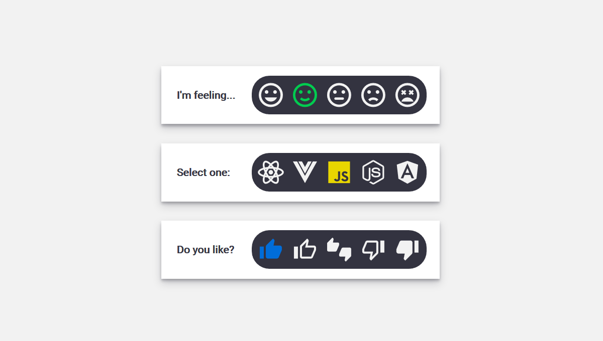 Demo image: Pure CSS-SVG Radio Selector Buttons