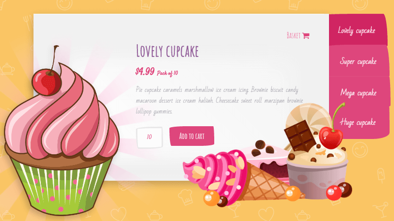 Demo Image: CSS Only Cupcake Slider