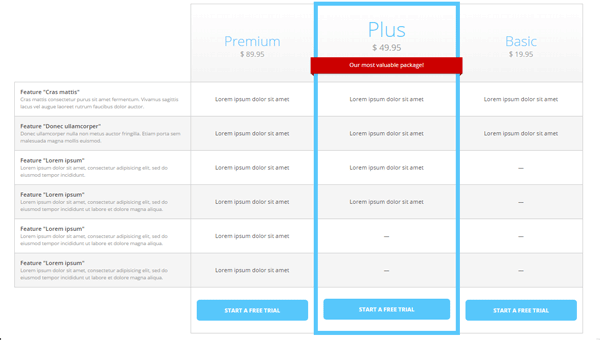 Demo Image: Pricing Table
