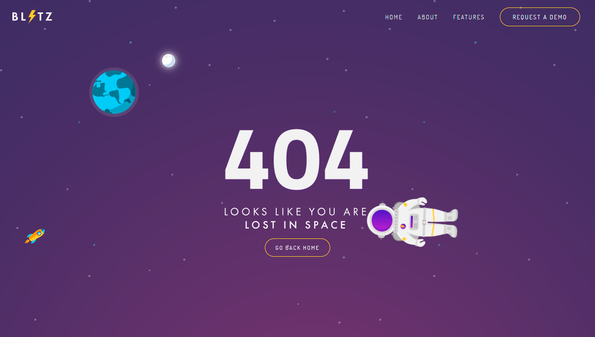 Demo image: 404 Page - Lost In Space