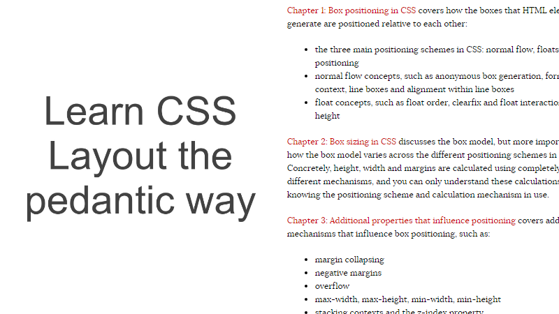 Cover Image: Learn CSS Layout. The Pedantic Way