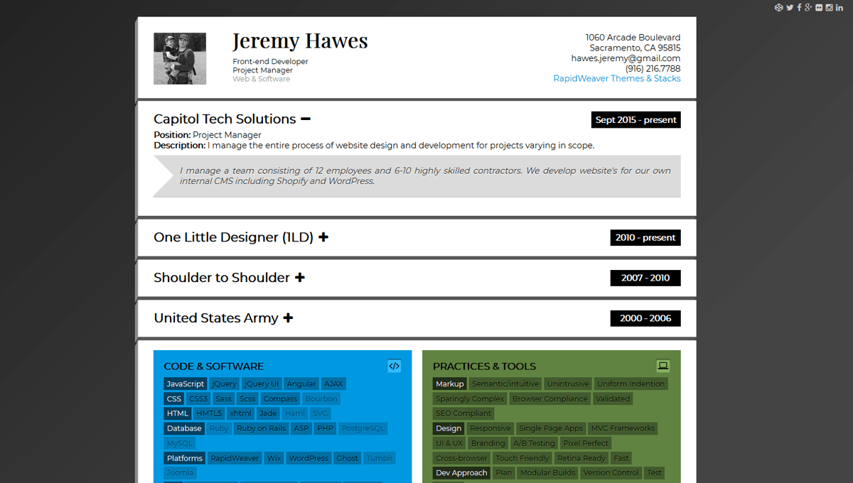 14 html resume templates