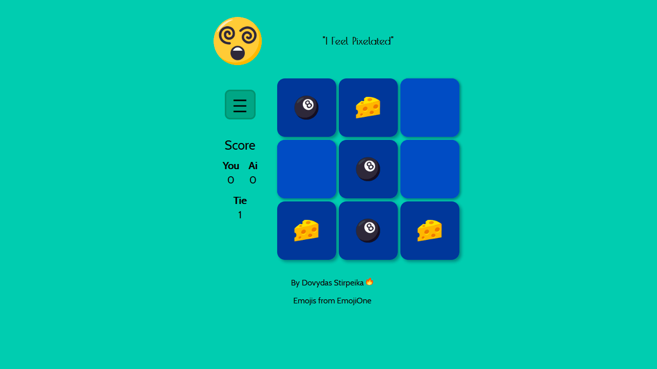 Demo image: Unbeatable Tic Tac Toe