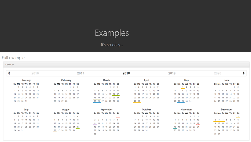 Demo image: Bootstrap Year Calendar