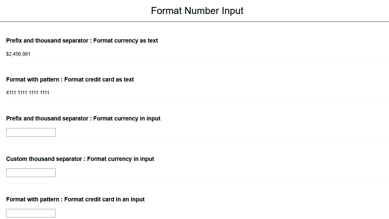 Demo image: React Number Format