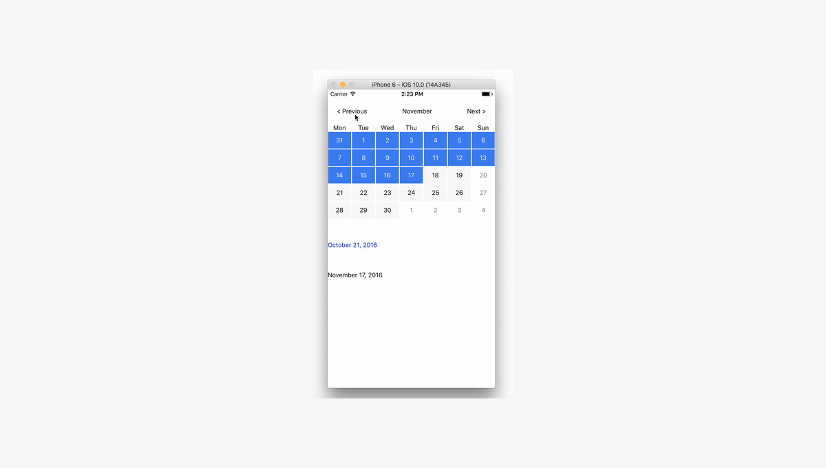 Demo image: react-native-dates