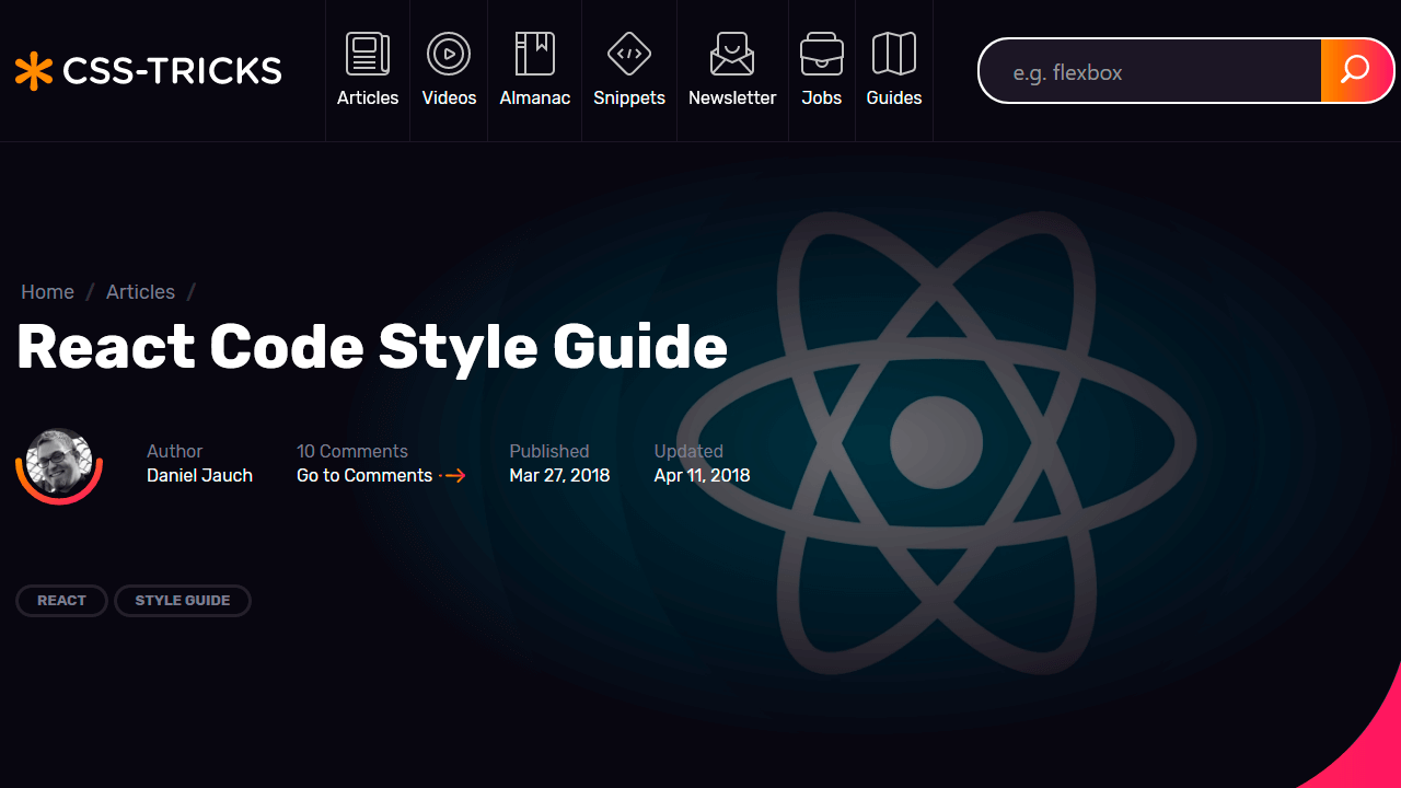 Demo image: React Code Style Guide
